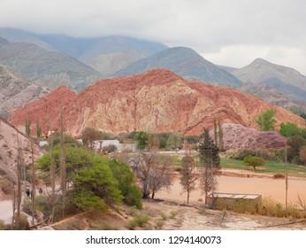The Seven Colours Hill ( Cerro de los siete colores) at Purmamarca, Argentina