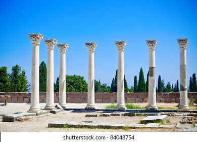 seven columns in Asklepion - place on the island Kos in Greece, where Hippocrates worked