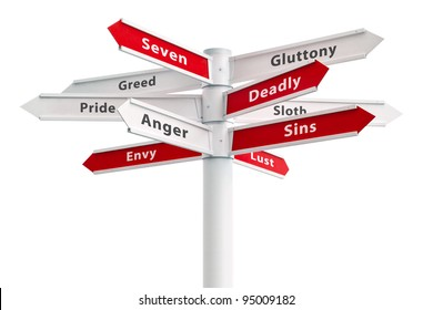 Seven deadly sins on crossroads sign arrows: Anger, Greed, Pride, Envy, Gluttony, Sloth, Lust