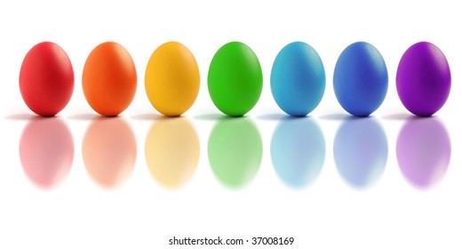 Seven eggs with rainbow color isolated on white background.