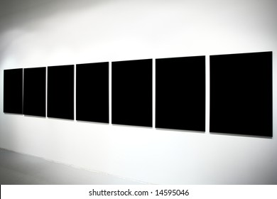 Seven empty black large banners on exposition