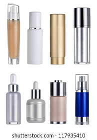 Seven flasks cosmetics. Clipping path