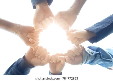 Seven hand of people assemble corporate meeting show symbol excellent teamwork best quality.Concept organizational development in teamwork and business