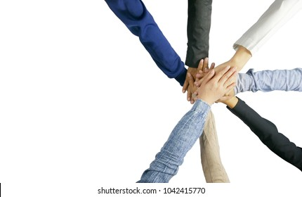 seven hand up of people working assemble corporate meeting show symbol Join forces teamwork quality and effective personnel Concept organizational development in teamwork and business