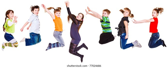 Seven joyful  kids jumping, isolated