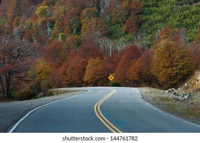 Seven Lakes Route (Route 40) in autumn. Neuquen Province. Argentina