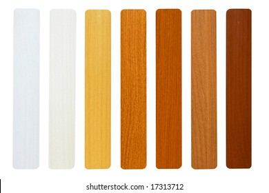 Seven maple wood samples in brown palette