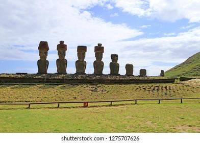Seven Moai Statues of Ahu Nau Nau with Single Moai of Ahu Ature Huki in Backdrop, Anakena Beach, Easter Island, Chile