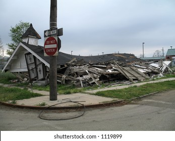 seven months post-Katrina, this collapsed church still sits in the deserted Lower Ninth Ward neighborhood of New Orleans