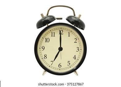 Seven o'clock Black Alarm Clock isolated on white background