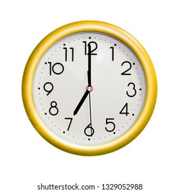 seven o'clock, photo circle yellow wall clock, on white background, isolated