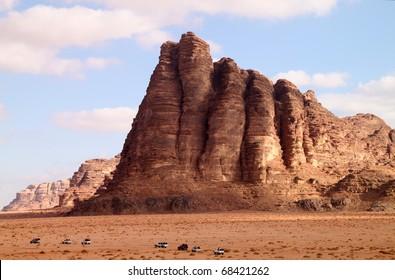 The seven pillars in Wadi Rum, Jordan