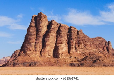 Seven pillars of wisdom on Wadi Rum desert in Jordan