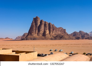 """The """"Seven Pillars of Wisdom"""" rock frmation in Wadi Rum, a spectacularly scenic desert valley in southern Jordan."""