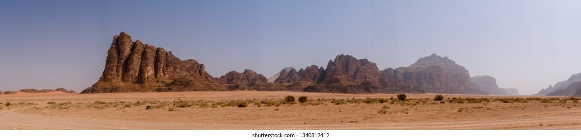 Seven pillars of wisdom in Wadi Rum desert in Jordan
