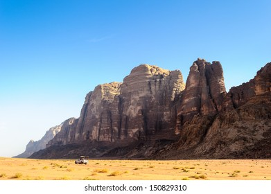 Seven Pillars of Wisdom, Wadi Rum, The Valley of the Moon, a valley cut into the sandstone and granite rock in southern Jordan.