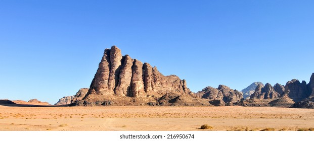 The Seven Pillars of Wisdom in Wadi Rum, Jordan. It is a valley cut into the sandstone and granite rock in southern Jordan 60 km to the east of Aqaba; it is the largest wadi in Jordan.