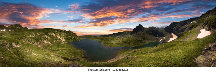 The Seven Rila Lakes - an incredible creation of nature in Rila mountain, Bulgaria. One of the most visited places of tourists and top landmark. Sightseeing. Panorama view with incredible sunset