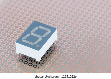 Seven segment led single digit display on a copper breadboard