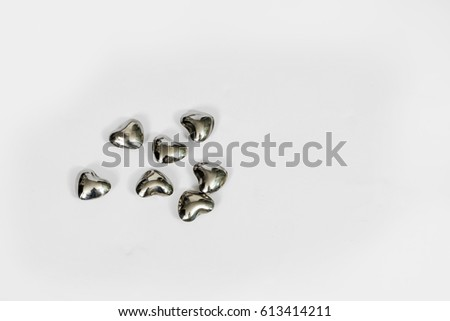 Seven Silver Hearts Symbolize Love Togetherness Stock Photo Edit
