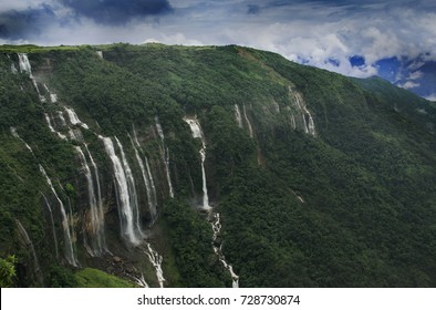SEVEN SISTER WATER FALLS  is a famous waterfall in Meghalaya. Seven Sister Waterfall flows only during monsoon season, so the best time to come to this place is from July to September.