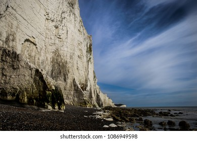Seven Sisters Chalk Cliffs with amazing blue Sky, East Sussex England