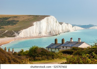 The Seven Sisters Chalk cliffs and the coastguard cottages, from Seaford Head South Downs East Sussex England UK
