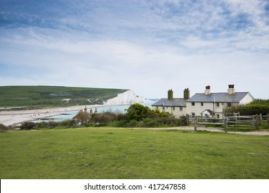 Seven Sisters Cliffs in South Downs in East Sussex, between the towns of Seaford and Eastbourne in southern England.