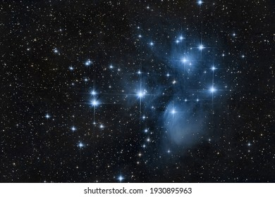 Seven sisters pleiades in the deep sky at night