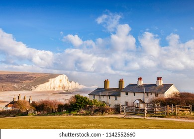 The Seven Sisters, Sussex, England, UK, and the famous coastguard cottages.