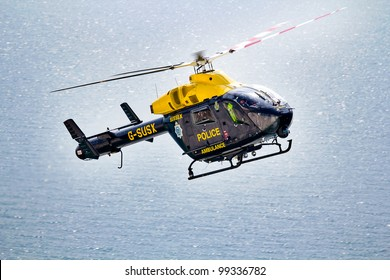 SEVEN SISTERS, UK - AUGUST 1: The Sussex police helicopter patrols over the Seven Sisters cliff tops on the south coast on 1 August, 2011.