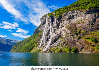 The seven sisters waterfall over Geirangerfjord, located near the Geiranger village, Norway