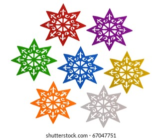Seven stars isolated over white background