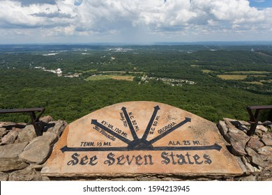 Seven States Stone at Rock City viewpoint atop of iconic Lookout Mountain, Georgia. The city of Chattanooga Tennessee is nearby.