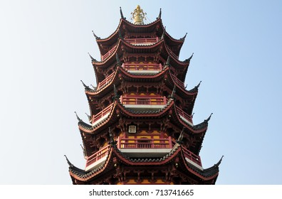 The seven storied, Medicine Buddha Pagoda at the buddhist Jiming Temple in the city of Nanjing located in Jiangsu province China.