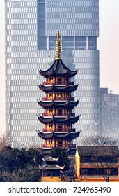 The seven storied, Medicine Buddha Pagoda at Jiming Temple in the city of Nanjing located in Jiangsu province China.