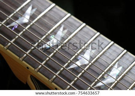 Seven String Guitar Close Up Strings Neck Stock Photo Edit Now
