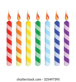 Seven striped birthday candles red, orange, yellow, green, blue, purple, raster set isolated