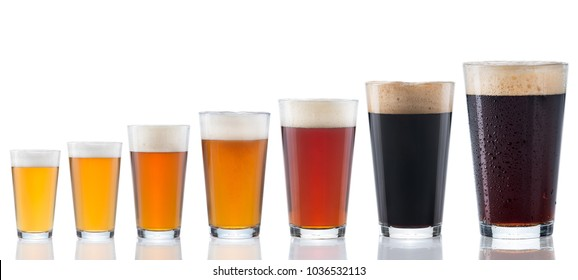 Seven types of beers from white to black in clear beer glasses isolated on white with glass reflections