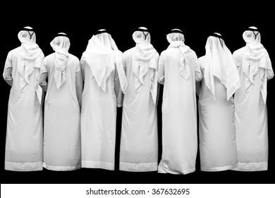 seven unknown arab persons, b/w