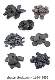 Seven variants licorice sweets on the white backgrounds