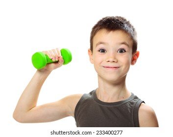 Seven years boy is doing exercises to develop muscles isolated on white background