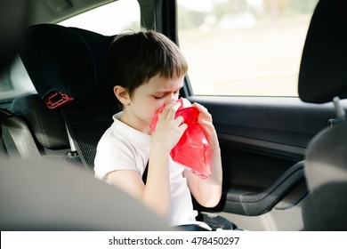 Seven years old child vomiting in car - suffers from motion sickness