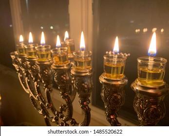 The seventh night of chanukah menorah lighting