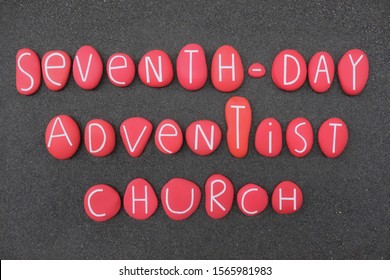 Seventh-Day Adventist Church, Protestant Christian denomination which is distinguished by its observance of Saturday, composition with red colored stones over black sand