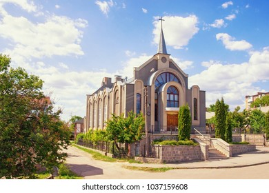 """Seventh-day Adventist Church in Uman town, Ukraine (Ukrainian text means: """"Christian Church of seventh-day Adventists"""" and over the door """"Peace be with You"""")"""