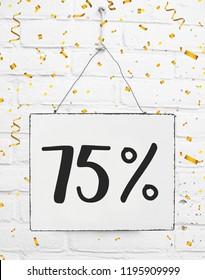 Seventy five 75 % percent off black friday sale 75% discount golden party confetti banner billboard