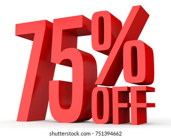 Seventy five percent off. Discount 75 %. 3D illustration on white background.