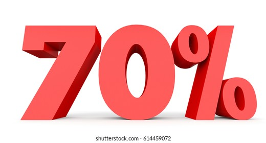 Seventy percent off. Discount 70 %. 3D illustration on white background.