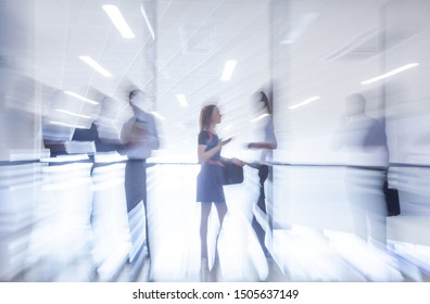 Severa  silhouettes of businesspeople interacting  background business centre